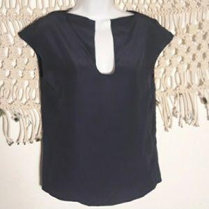 Parker 100% silk navy blue sleeveless top XS